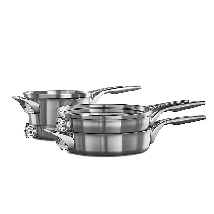 Alternate image 1 for Calphalon® Premier™ Space Saving Stainless Steel 6-Piece Cookware Set