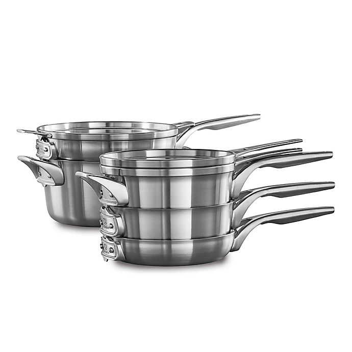 Alternate image 1 for Calphalon® Premier™ Space Saving Stainless Steel 8-Piece Cookware Set