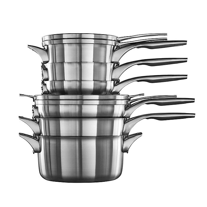 Alternate image 1 for Calphalon® Premier™ Space Saving Stainless Steel 10-Piece Cookware Set