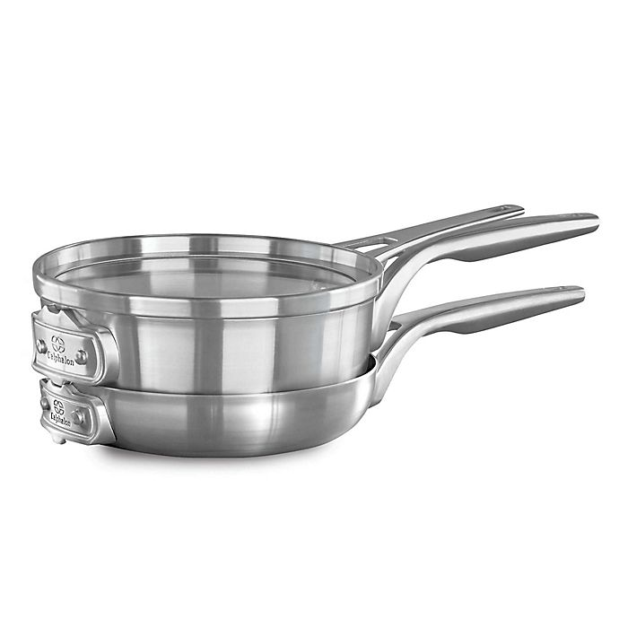 Alternate image 1 for Calphalon® Premier™ Space Saving 3-Piece Stainless Steel 8-Inch Cookware Set