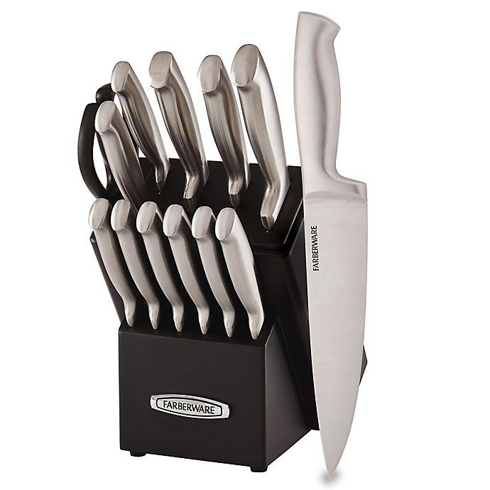Alternate image 1 for Farberware® Edgekeeper™ Pro Self-Sharpening 13-Piece Stainless Steel Knife Block Set