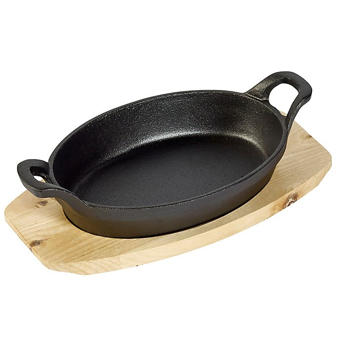 Alternate image 1 for Basic Essentials® 2-Piece Cast Iron Oval Sizzler Set with Wooden Trivet