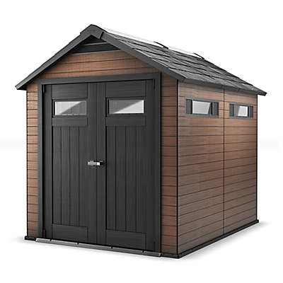 Keter Fusion 7-Foot 5-Inch x 7-Foot Resin Storage Shed in Mahogany