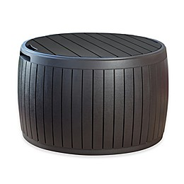Keter Circa Round All-Weather Wood Deck Box in Brown