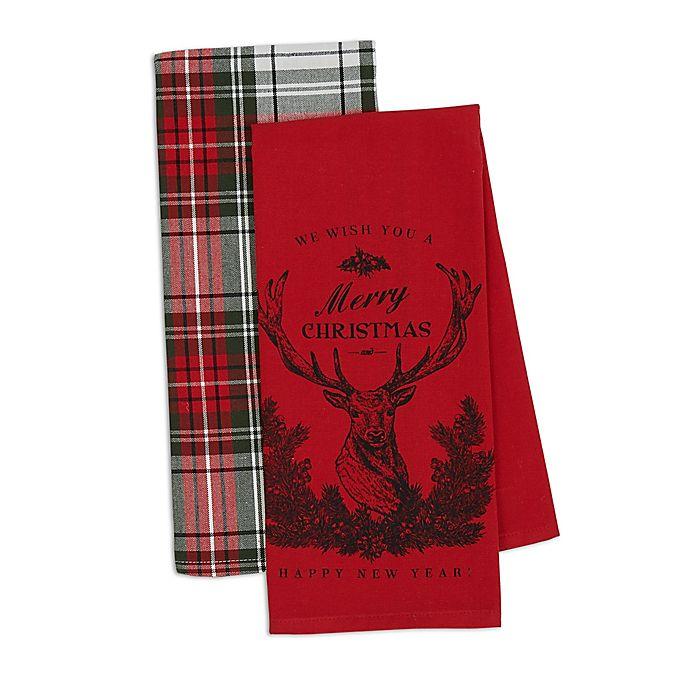 Kitchen Towels Xmas: Design Imports 2-Piece Christmas Stag Kitchen Towel Set