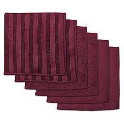 Design Imports 6-Piece Microfiber Scrub Scour Polish Bar Mop Dish Towel Set in Wine