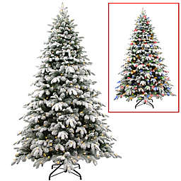 National Tree Company® 7.5-Foot Snowy Avalanche Christmas Tree with 750 Dual Color LED