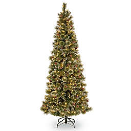 National Tree Company 6-1/2-Ft Pre-Lit Glittery Bristle Pine Christmas Tree with Clear Lights