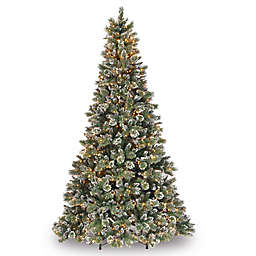 National Tree Company 9-Foot Pre-Lit Glittery Bristle Pine Christmas Tree with Clear Lights