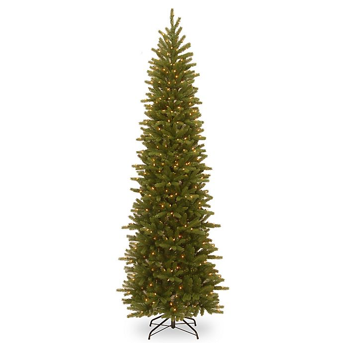 Alternate image 1 for National Tree Company Grand Fir Pencil Slim Pre-Lit Christmas Tree with Clear Lights