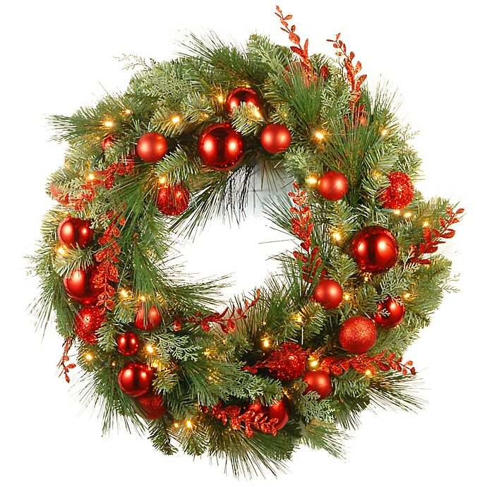 National Tree Company Pre-Lit LED 30-Inch Christmas Wreath in Red   Bed Bath & Beyond