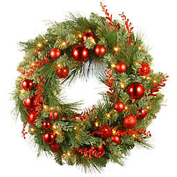 National Tree Company Pre-Lit LED 30-Inch Christmas Wreath in Red