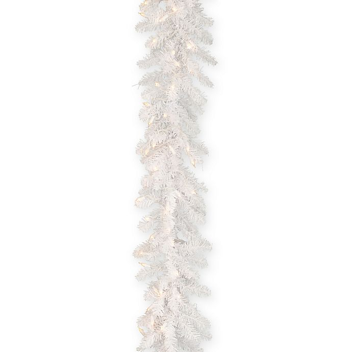 Alternate image 1 for National Tree Company 9-Foot Pre-Lit Dunhill White Fir Garland