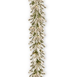 National Tree Company 9-Foot Pre-Lit Snowy Sheffield Spruce Garland