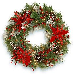 National Tree Company Pre-Lit LED 30-Inch Tartan Plaid Wreath