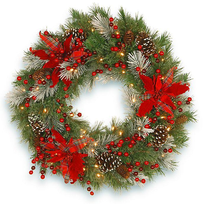 Alternate image 1 for National Tree Company Pre-Lit LED 30-Inch Tartan Plaid Wreath