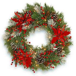 National Tree Company Pre-Lit LED 30-Inch Tartan Plaid Wreath