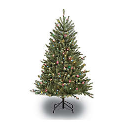 Puleo International 4.5-Foot Fraser Fir Pre-Lit Artificial Christmas Tree with Multicolor Lights