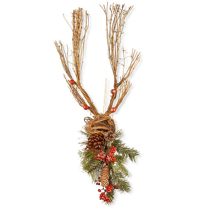 Alternate image 1 for National Tree Company Christmas Deer Decoration in Red/Green