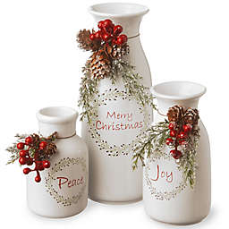 National Tree Company 3-Piece Holiday Antique Milk Bottles
