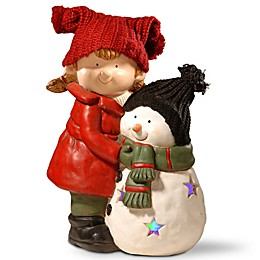National Tree Company Lighted Girl and Snowman Decoration