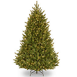 National Tree Company Natural Fraser Fir Pre-Lit Hinged Christmas Tree with Clear Lights