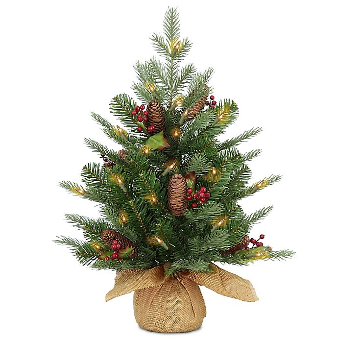 National Tree Company 2-Foot Pre-Lit LED Feel Real Nordic ...