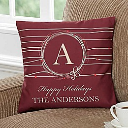 Holiday Wreath 14-Inch Personalized Square Throw Pillow