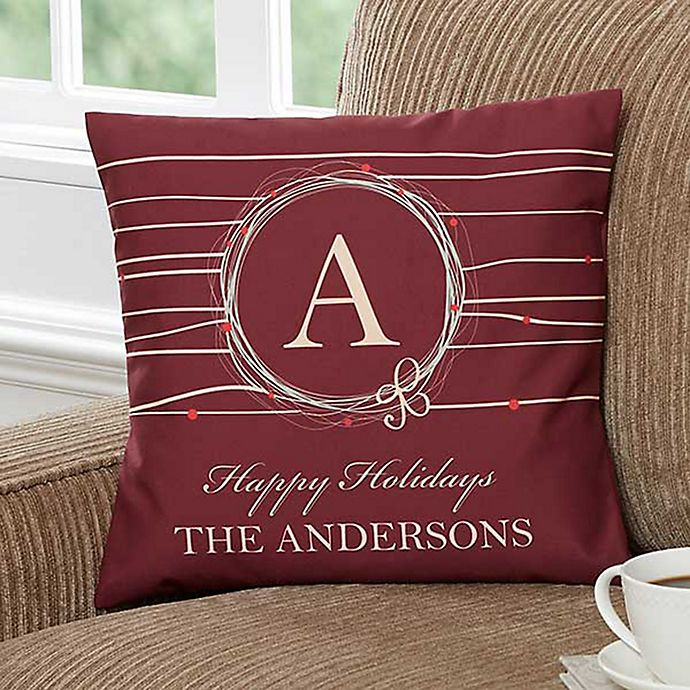 Alternate image 1 for Holiday Wreath 14-Inch Personalized Square Throw Pillow