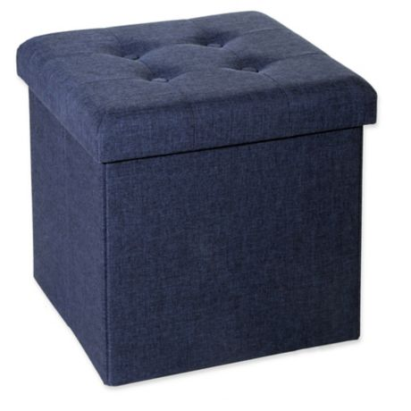 Seville Classics Foldable Storage Cube Ottoman Bed Bath