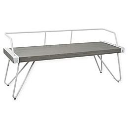 LumiSource Stefani Bench in White/Grey