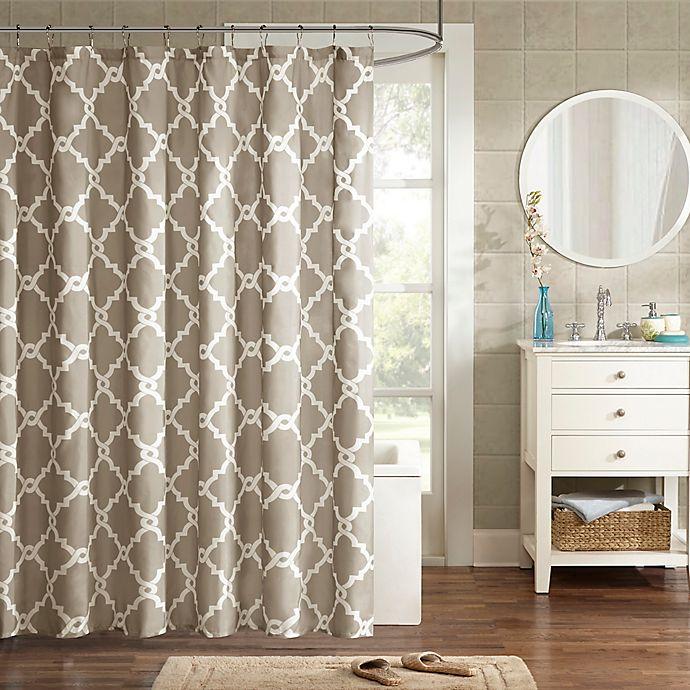 Alternate image 1 for Madison Park Essentials Merritt Printed Fretwork Shower Curtain
