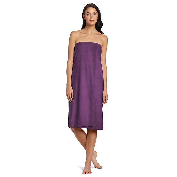Alternate image 1 for Design Imports Essential Shower Wrap in Eggplant