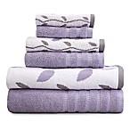 Pacific Coast Textiles 6-Piece Organic Vines Towel Set in Grey Lavender