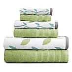 Pacific Coast Textiles 6-Piece Organic Vines Towel Set in Sage Green