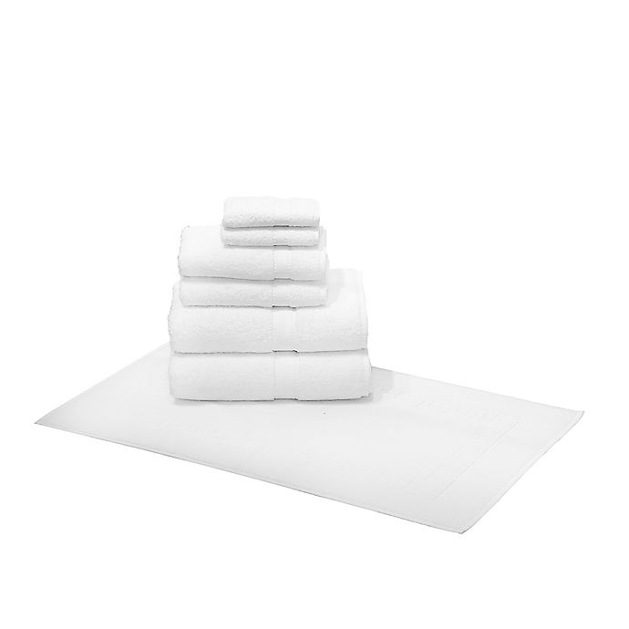 Alternate image 1 for Linum Home Textiles 7-Piece Terry Towel and Greek Key Rug Set in White