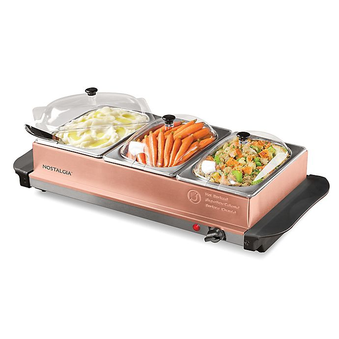 Alternate image 1 for Nostalgia™ Electrics 3-Station Buffet Server & Warming Tray in Copper