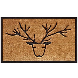 Home & More Deer 18-Inch x 30-Inch Door Mat in Black/Natural