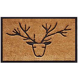 Home & More Deer 18-Inch x 30-Inch Door Mat in Black/Natural