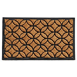 Home & More Circles 24-Inch x 36-Inch Door Mat in Natural/Black