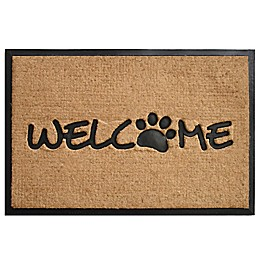 & More Welcome Paw 24-Inch x 36-Inch Door Mat in Black/Natural