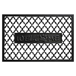 Home & More Welcome Paw 24-Inch x 36-Inch Rubber Door Mat in Black