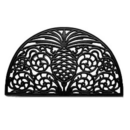 Home & More Pineapple Grandeur 18-Inchy x 30-Inch Rubber Door Mat in Black
