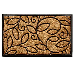 Home & More Vine Leaves 18-Inch x 30-Inch Door Mat in Natural/Black