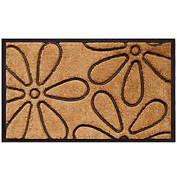 Home & More Flowers 18-Inch x 30-Inch Door Mat in Natural/Black