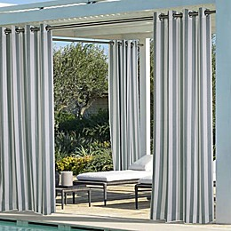 Coastal Stripe Grommet Top Indoor/Outdoor Window Curtain Panel
