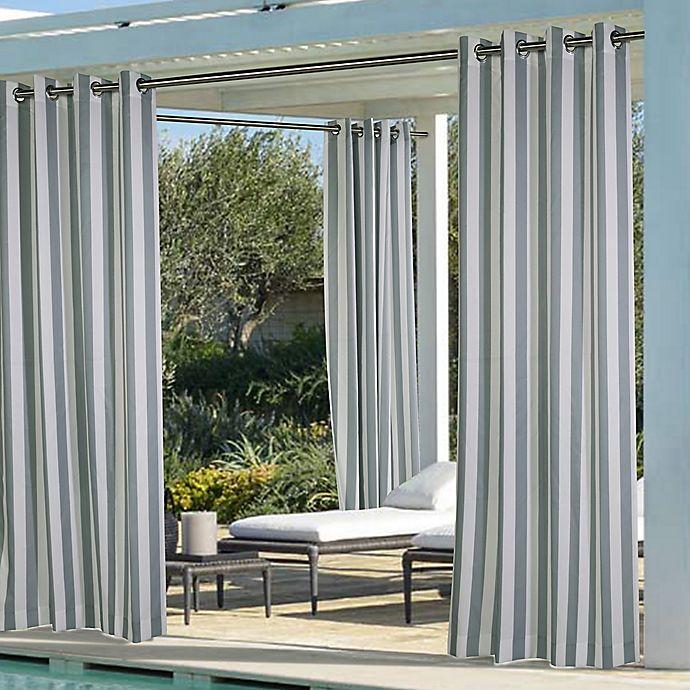 Alternate image 1 for Coastal Stripe Grommet Top Indoor/Outdoor Window Curtain Panel