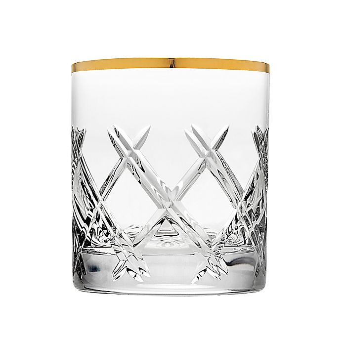 Alternate image 1 for Top Shelf Bevel Double Old Fashioned Glasses in Gold (Set of 4)