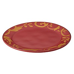 Rachael Ray™ Gold Scroll Round Serving Platter in Cranberry