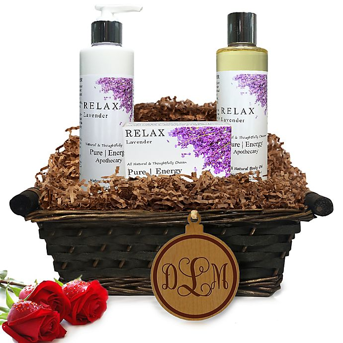 Alternate image 1 for Pure Energy Apothecary Daily Delight Lavender Monogram Gift Basket